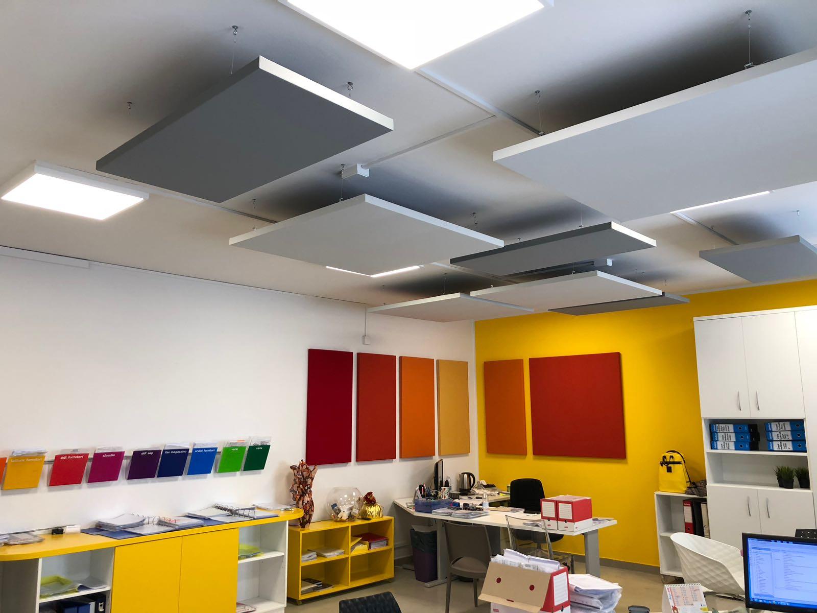 Lampade e pannelli fonoassorbenti di design per uffici